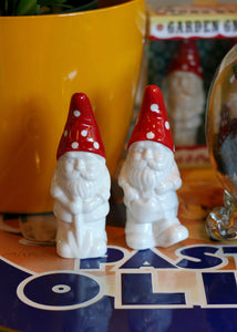 white & red ceramic gnome                                    -          s & p shakers