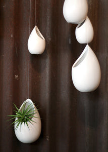 large ceramic modern white hanging planter