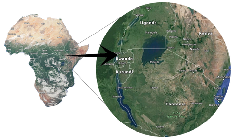 Map of Africa with Rwanda zoomed in
