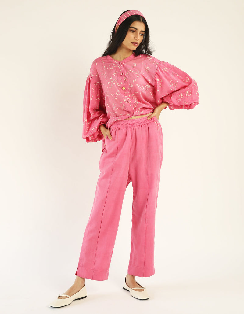 Pink Side Slit Pants In Handwoven Cotton Silk Fabric