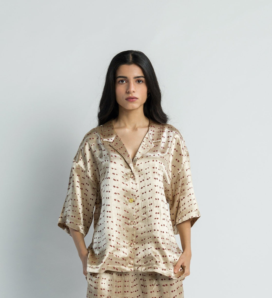 Polka Mashru Handwoven Cotton Silk Top