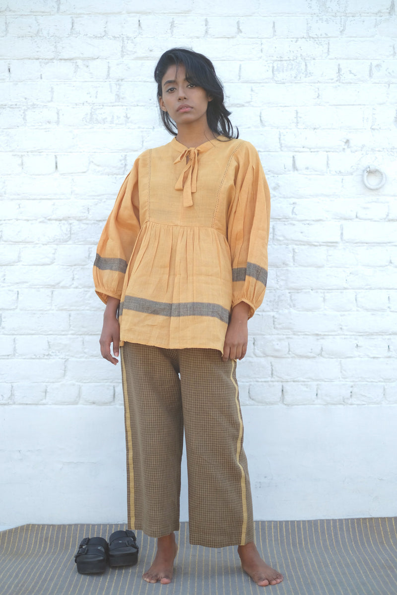 Sungold Neck Tie Handwoven Cotton Linen Top