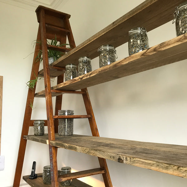 Shelves made from salvaged ladders