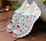 INSTANTARTS Dentist Shoes Women's Flats Cartoon Dental Nurse Print Breath Mesh Comfort Sneakers for Ladies Girls Summer Loafers