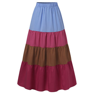 Womens Bohemian Ruffles Pleated Skirts ZANZEA High Waist Chic Skirts Patchwork Color Vestidos Streetwear Jupe Robe S-5XL