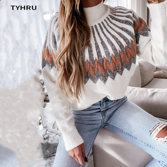 TYHRU Women's Autumn Winter Casual Sweater High-neck Knitting Long Sleeve contrast color Loose Tops Pullover soft warm Sweater