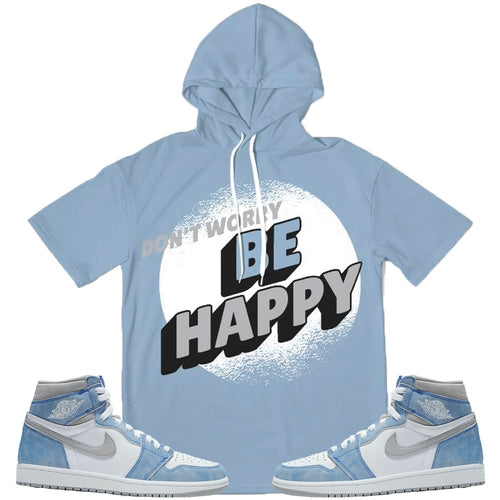Dont Worry Be Happy (High Og Hyper Royal 1's) Short Sleeve Hoodie - Sneaker Combos