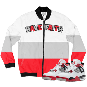 Have Faith (Fire Red 4's) Bomber Jacket - Shop Men, Women, Kids clothing and accessories To Match Your Kicks online