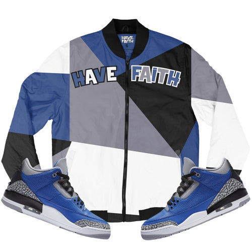 Have Faith (Blue Cement Retro 3's) Bomber Jacket - Sneaker Combos
