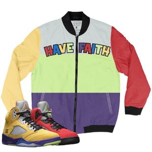 Have Faith (What The Retro 5's) Bomber Jacket - Sneaker Combos