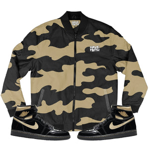 HF CAMO (OG Black Metallic Gold Retro 1's) Men's Bomber Jacket - Sneaker Combos