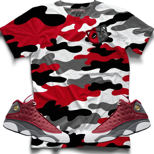 HF Camo (Retro 13 Red Flint) T-Shirt - Sneaker Combos