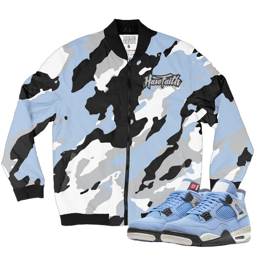 HF Camo (Retro 4 University Blue) Bomber Jacket - Sneaker Combos