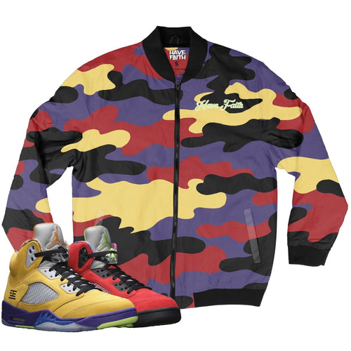 HF CAMO (What The Retro 5's) Bomber Jacket - Sneaker Combos