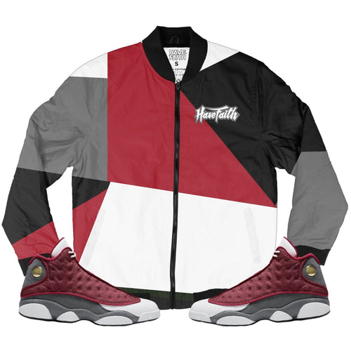 HF Color Block(Retro 13 Red Flint) Bomber Jacket - Sneaker Combos