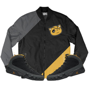 HF linear (Air Jordan 9 University Gold) Bomber Jacket - Sneaker Combos