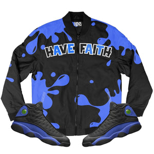 HF Splash (Black Hyper Royal Retro 13's) Bomber Jacket - Sneaker Combos