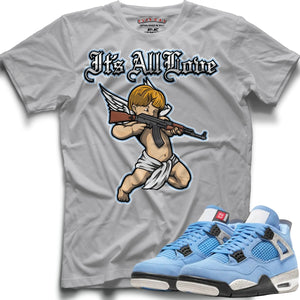 It's All Love (Retro 4 University Blue) T-Shirt - Sneaker Combos