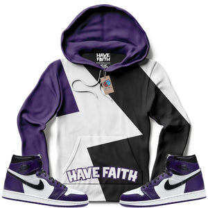 Multi-Color Have Faith (Court Purple Retro 1's) Hoodie - Sneaker Combos