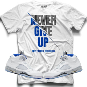 Never Give Up (Stealth Retro 5's) T-Shirt - Sneaker Combos