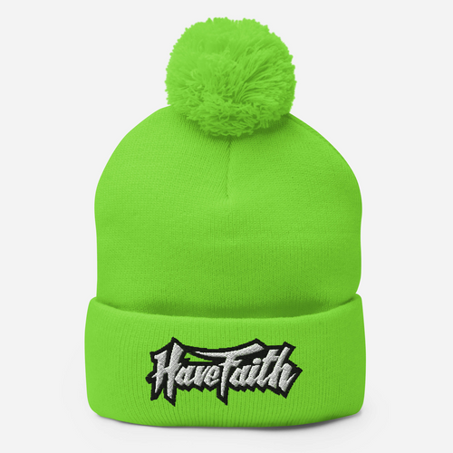 Have Faith (Volt Gold Retro 1's) Pom-Pom Beanie - Shop Men, Women, Kids clothing and accessories To Match Your Kicks online
