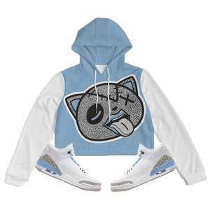 Tounge Out (UNC Retro 3's) Women's Cropped Hoodie - Sneaker Combos
