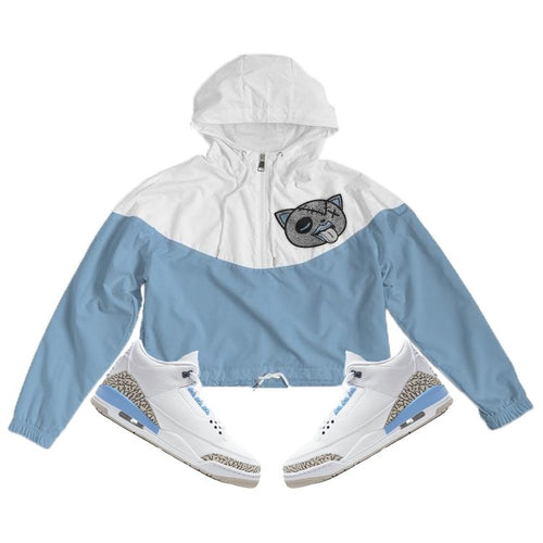 Tounge Out (UNC Retro 3's) Women's Cropped Windbreaker - Sneaker Combos