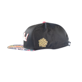 Floral Tribal Black Snapback Hat