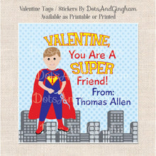 Load image into Gallery viewer, Valentine Superhero Tag, Printable Valentines Kids Tags, Boy Super Hero Valentine Tag, Non Candy Valentine, Personalized Kids Valentine