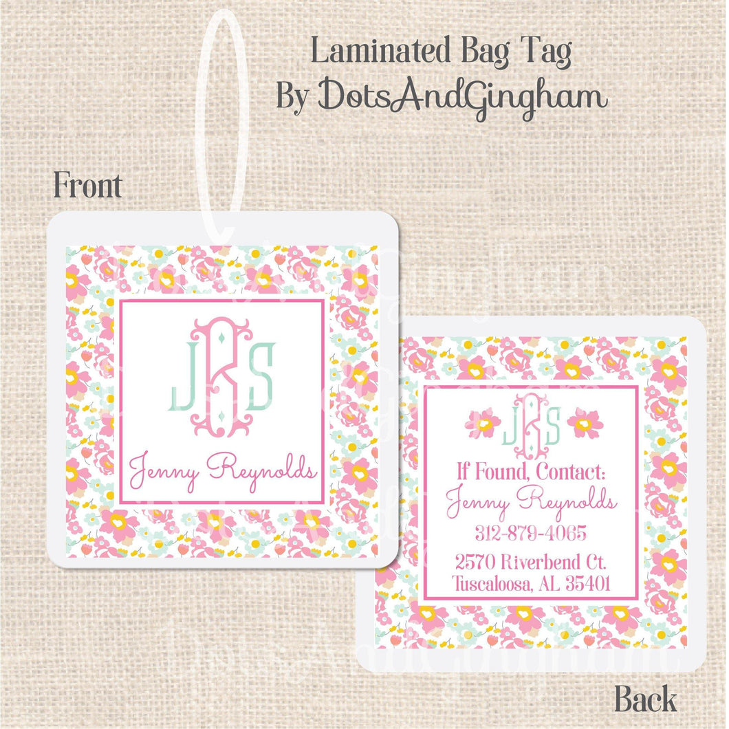 Liberty Floral Monogram Bag Tag