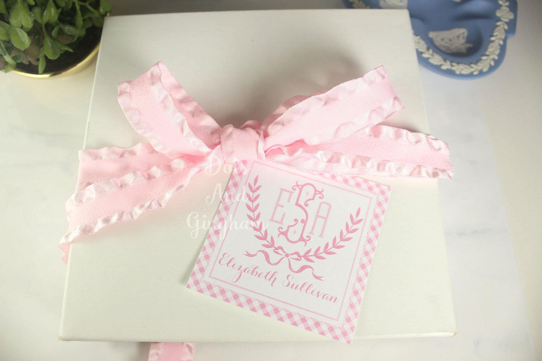 Pink Laurel Wreath Gift Tags or Stickers