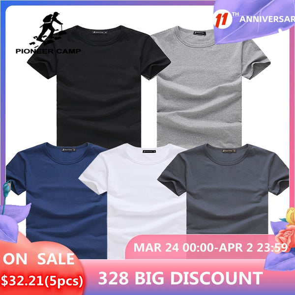 Pioneer Camp 5pcs Simple t-shirt Men Solid 100% Cotton T Shirts Men's New Arrival Short Sleeve Men t-shirt 2021