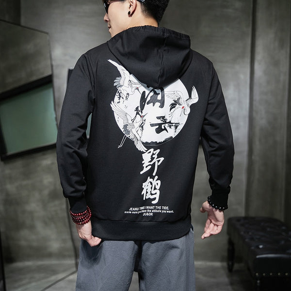 Zhijing Chinese-Style Printed plus Size Hooded hoodies Men Streetwear Hoodie Men Harajuku XXXTentacion