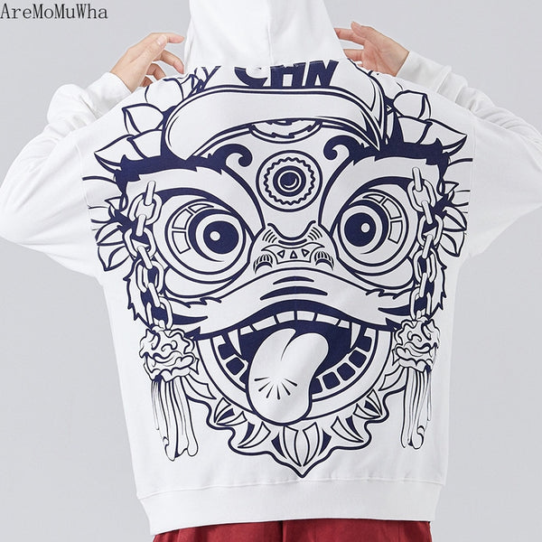 Chinese Style Lion Awakening Hoodie Hip-hop Cartoon OversizeBrand Coat Embroidery Plus Velvet Padded Sweatshirts Men Hoodies