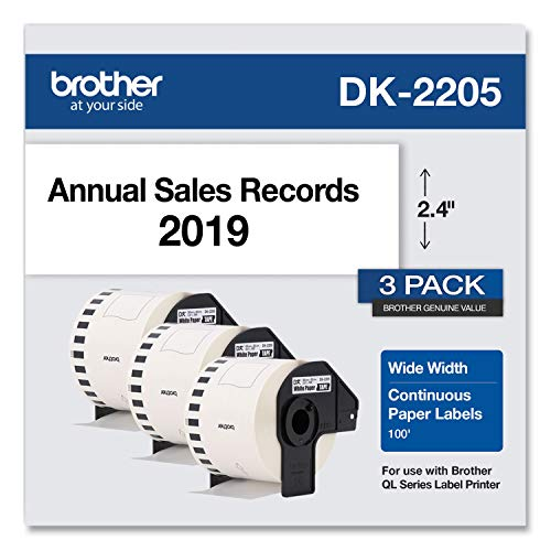 "Brother Genuine, DK-22053PK Continuous Paper Label Rolls 2.4"" x 100 Feet"