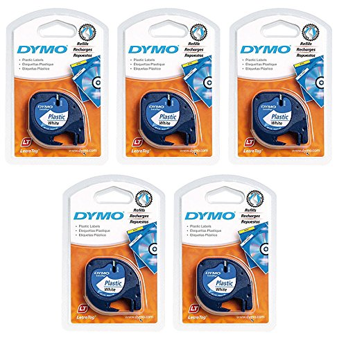 DYMO 91331 LT Plastic Tape Cassette for LetraTag Label Makers (5) Pack