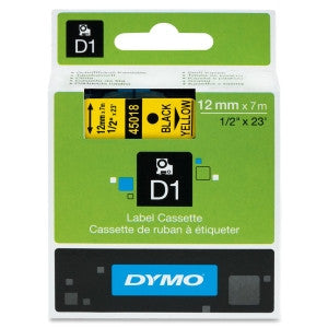 Dymo (45018) Black on Yellow D1 Label Tape