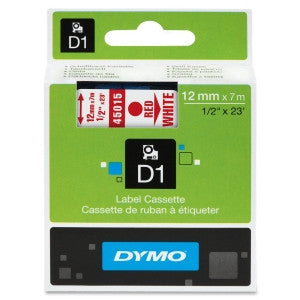 "Dymo (45015) Red on White D1 Label Tape - 0.50"" Width"