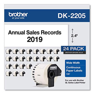 "Brother DK-220524PK Continuous Paper Label Rolls 2.4"" x 100 Feet, (24) Rolls"
