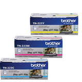 Brother TN223 (TN-223) C/M/Y-3 Color Toner Set Includes (1) TN223C, (1) TN223M, (1) TN223Y