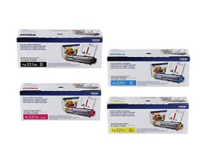 Brother Genuine TN-221BK, TN-221C, TN-221M, TN-221Y 4-Pack