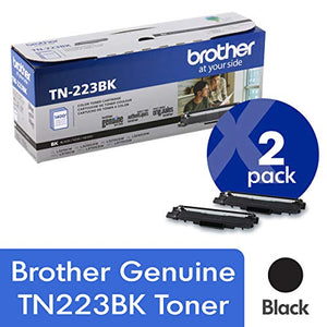 Brother Genuine TN223BK Standard Yield Black Toner Cartridge (2) Pack