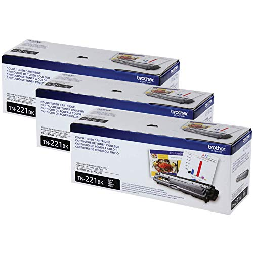 Brother Genuine TN221BK Standard Yield Toner Cartridge-3 pack