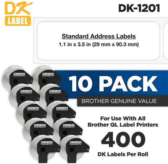 Brother DK-1201 Standard Address White Paper Labels (10) Pack- (400 Labels/Pkg)