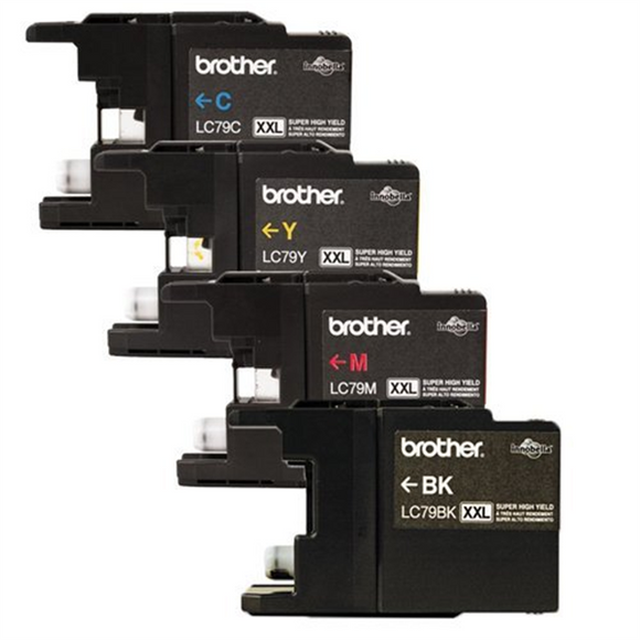 Genuine Brother LC79 (LC-79) Super High Yield Color (Bk/C/M/Y) Ink Cartridge 4-Pack (LC79Bk, LC79C, LC79M, LC79Y) for Brother MFCJ5910DW MFCJ6510DW MFCJ6710DW MFCJ6910DW