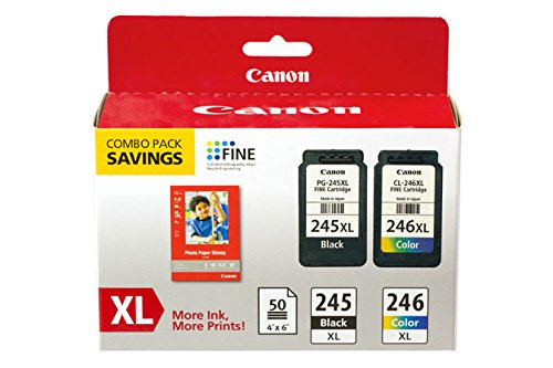 Canon PG-245XL/CL-246XL Ink/Photo Paper Pack, Compatible to MX490, MX492, MG2522, MG3020,MG2920,MG2924,iP2820,MG2525, MG2420