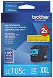 Brother LC105C Original Super High Yield Cyan Ink Cartridge 1,200 Yield
