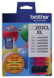 Brother LC2033PKS High Yield C/ M/ Y Ink Cartridge 3-Pack