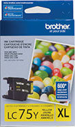 Brother LC75Y Original Yellow High Yield Ink Cartridge (600 Yield)