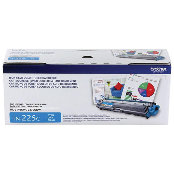 Brother TN225C Original Cyan High Yield Toner Cartridge (2,200 Yield)